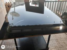 Tampo de mesa madeira e vidro fumê