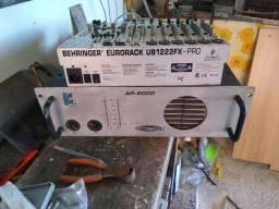 Amplificador Thunder Light AP 6000 e Mesa de som Behring1222fx