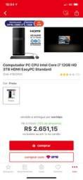 PC CPU Intel i7 12GB HD 3TB HDMI / Monitor LG 19,5