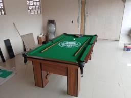 Mesa de Sinuca Personalizada Palmeiras Cor Imbuia Tecido Verde