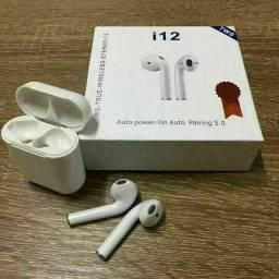 Fone de Ouvidos Airpods Bluetooth i12 Mini<br>Pega em todos os celulares via Bluetooth.