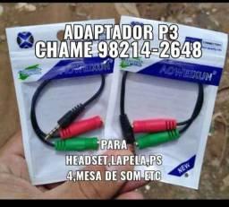 Cabo adaptador p3/p2 para headset(pronta entrega)