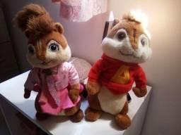 Casal de pelúcias Alvin e os esquilos- Alvin e Brittany