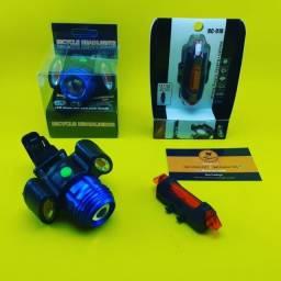 Kit para Bike 2x1 ( Recarregavel ) Lanterna + Sinalizador