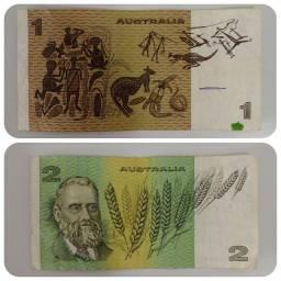 Notas australianas antigas, anteriores 1983, em excelente estado de conservação.<br>