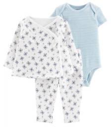 Conjunto de cardigan, body e calça, 3 peças, Carter´s, tamanho 6 e 9 meses