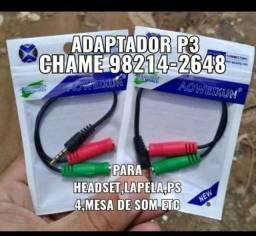Cabo adaptador p3/p2 para headset(frete grátis)