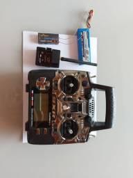 Radio turnigy 9xr pro com bateria + rx e tx