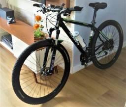 3199 ou 12x R$294,58 - Bike Mosso 29er toda Deore 30v +pedal clip shimano +acessórios