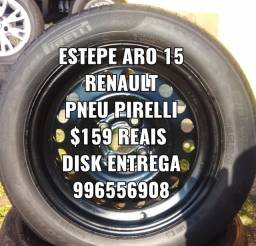 Estepe aro 15 Renault. Com pneu Pirelli. Disk entrega