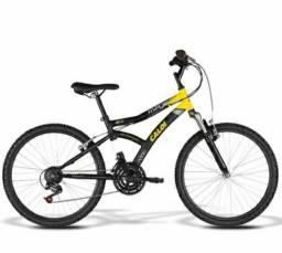 Bicicleta Caloi Max Front - Aro 24 - 21 Marchas - Preto Amarelo<br><br>