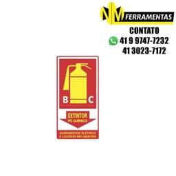 Título do anúncio: Placa Advertência Extintor Pó Químico Classe B-c Unidade