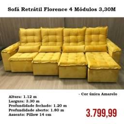 Sofá Retrátil e Reclinável Florence na cor amarela 3,30M