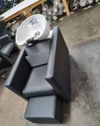 Lavatório cuba de porcelana // cadeira de salão e barbearia