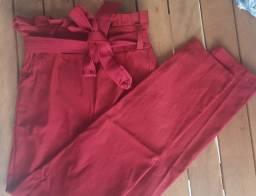 calça cintura alta vermelha