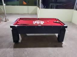 Mesa Gaveta 4 pés laterais | Mesa Preta | Tecido Vermelho | Flamengo | Modelo: AAFK2690