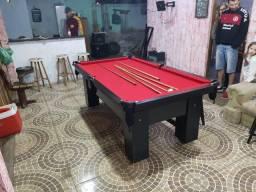 Mesa Charme de Bilhar e Jantar   Mesa Preta   Tecido Vermelho   Modelo: HLCD3330