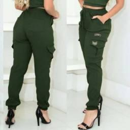 Calça Jogger Bengaline Militar Feminina Blogueira Moda