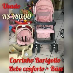 Conjunto Carrinho + Bebe Conforto + Base - Produto Usado Lindissimo