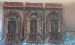 1 poltrona,2 criados mudos e 3 quadros de madeira de demolição antigo