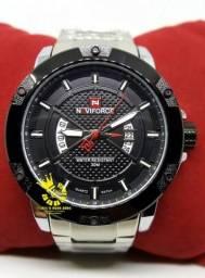 eaf6a9d0c29 Relógio Naviforce 9085 Prata Aço Resistente Água 3ATM Entrega Grátis  4x s  juros 996953694