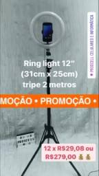 """Tripé de 2 metros com Ring Light 12"""""""