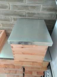 Caixa e sobre caixa de abelha com ferrão