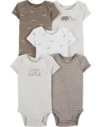 Kit bodies animais tons terra, 5 peças, Carter´s, tamanhos 12, 18 meses
