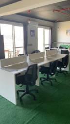 Mesa para escritório com divisão de 6 lugares