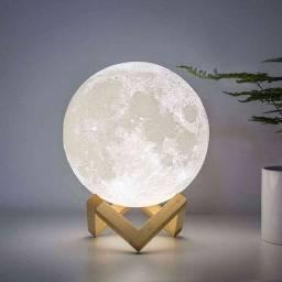 Luminária Lua Cheia 3D Troca de Cor: