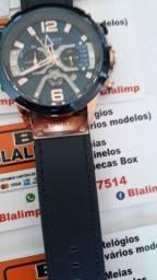 curren relogio casuais esportivo para hemens azul com cronografo