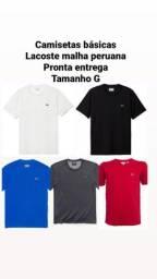 Camisetas básicas malha peruana