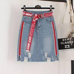 Saia Jeans com faixas nas laterais + cinto