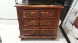 Mesa de cabeceira em madeira, estilo rústico