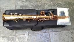 Sax Soprano Soul Inteiriço Novissim Saxofone Dourado Troco+$ 12x no cartão