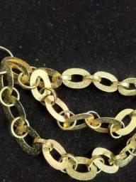 Colar folhado ouro macico 10 camadas