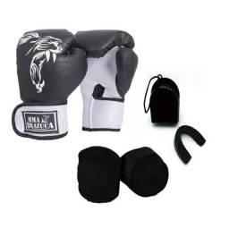 Kit Luva Boxe 12OZ + Bandagem Elástica + Protetor Bucal