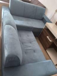 Sofá de canto 2 e 3 lugares cor azul