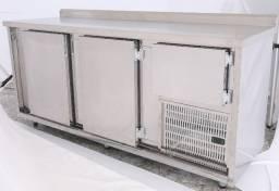 Balcão de serviço Inox Refrigerado 1,90m tampo liso, Bancada refrigerada