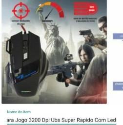 Mouse Gamer Para Jogo 3200 Dpi Ubs Super Rapido Com Led
