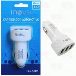 Carregador Veicular Com 3 USB 3.4A Inova car-5207