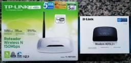 Modem Adsl2+ 2500e D-link com Roteador TP-Link TL-WR740N