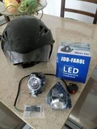 Farol led moto + capacete