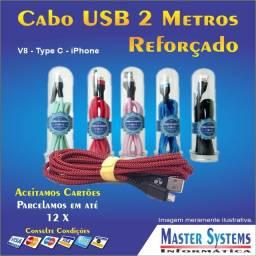 Cabo de Dados USB 2 Metros - Reforçado