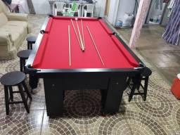 Mesa Charme de Sinuca e Jantar   Mesa Preta   Tecido Vermelho   Modelo: IBBI9420