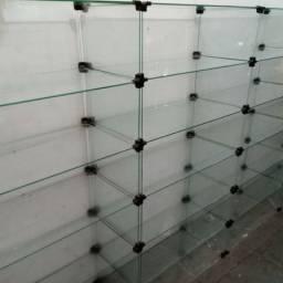 Estantes de vidro temperado