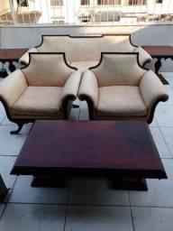 Jogo de sofá e mesa de centro com duas mesa de canto