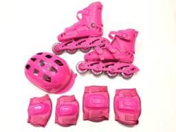 Promoção de Patins Infantil Completão Masculino E Feminino Com Kit Proteção B12