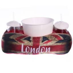 Almofada Porta Pipoca com Balde e 2 copos Presente Criativo Perfeito
