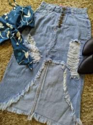 Saia MIDI destroyed jeans produtos femininos
